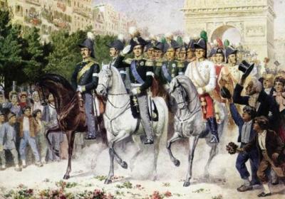 Император Александр во главе русских войск весной 1814 г. вступил в Париж.