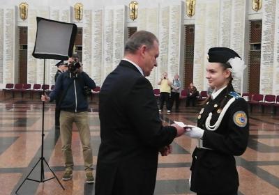 Принятие присяги кадетами подшефными ЦОК ВКС в музее Победы на Поклонной горе