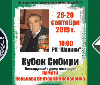 Бильярдный турнир турнир «Памяти В.Н. Пенькова»